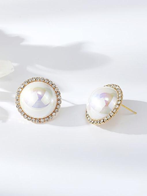KEVIN Zinc Alloy Imitation Pearl Round Dainty Stud Earring 0