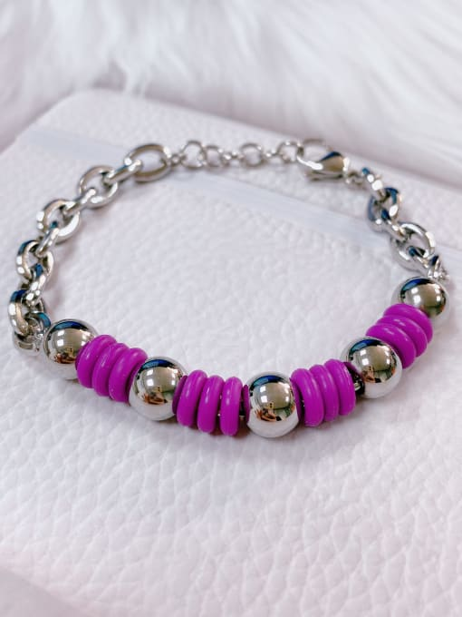 Purple Stainless steel Silicone Irregular Trend Link Bracelet