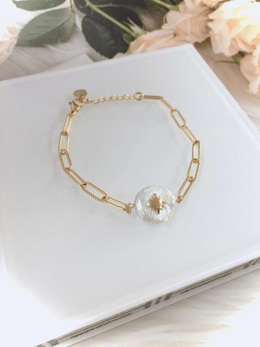 KEVIN Stainless steel Imitation Pearl Irregular Minimalist Link Bracelet 0