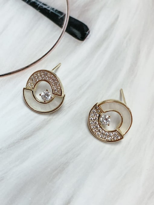 KEVIN Brass Shell Round Trend Stud Earring 0