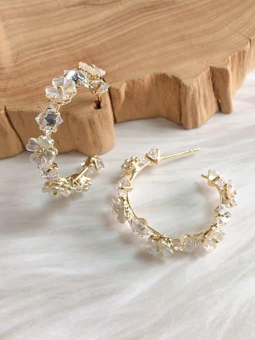 KEVIN Brass Cubic Zirconia Lace Cone Trend Hoop Earring
