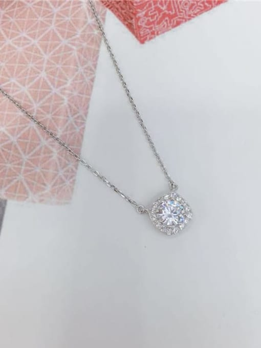 KEVIN 925 Sterling Silver Cubic Zirconia Square Dainty Initials Necklace