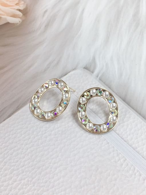 KEVIN Brass Rainbow Stone Cone Trend Stud Earring