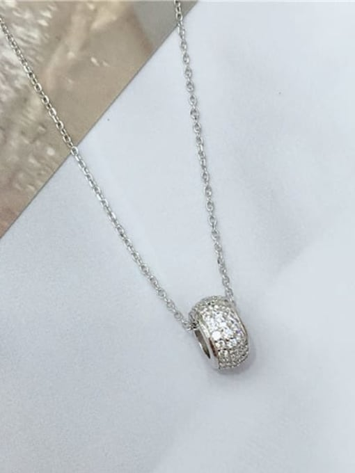 KEVIN 925 Sterling Silver Cubic Zirconia Round Dainty Initials Necklace 0
