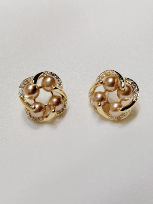 KEVIN Brass Imitation Pearl Clover Trend Stud Earring