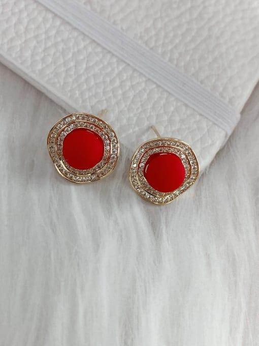 Red Brass Imitation Pearl Irregular Minimalist Stud Earring