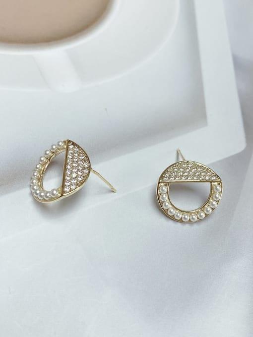 KEVIN Brass Imitation Pearl Irregular Minimalist Stud Earring 1