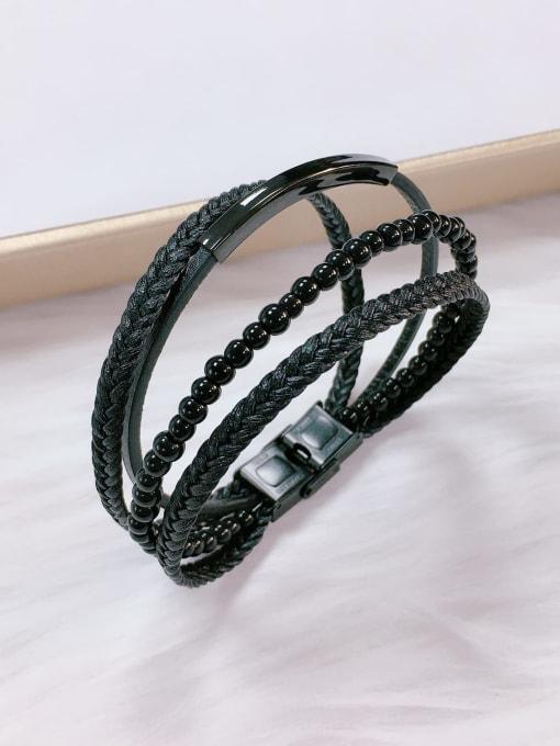 Black Stainless steel Bead Leather Irregular Trend Bracelet