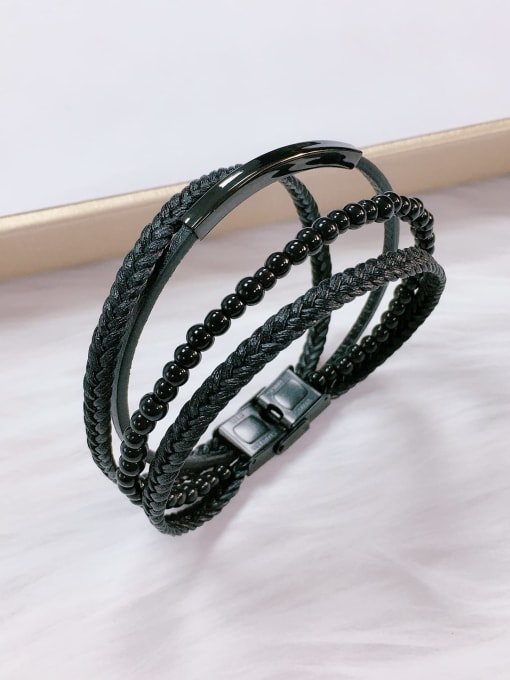 HE-IN Stainless steel Bead Leather Irregular Trend Bracelet