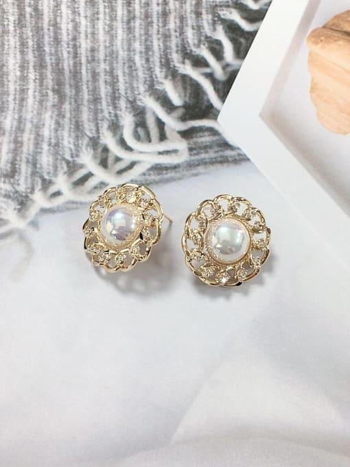 KEVIN Zinc Alloy Imitation Pearl Cone Minimalist Stud Earring 0
