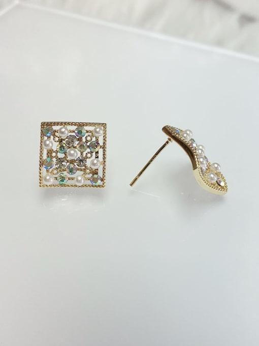 KEVIN Brass Rhinestone Square Dainty Stud Earring 0