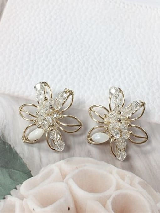 KEVIN Zinc Alloy Crystal Flower Trend Stud Earring
