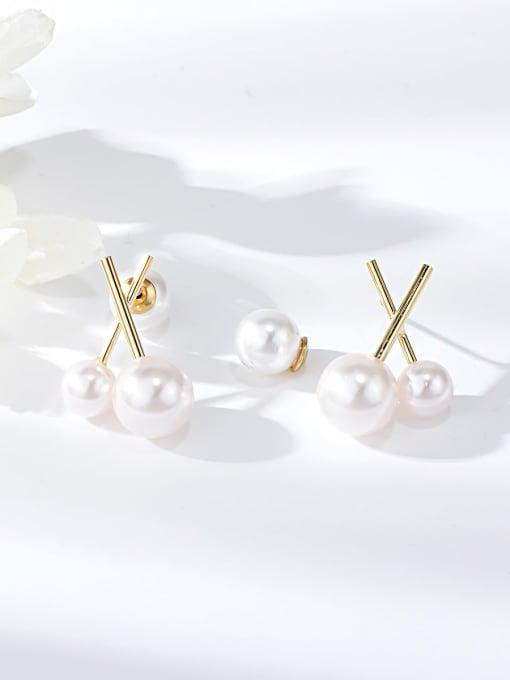 KEVIN Zinc Alloy Imitation Pearl Irregular Minimalist Stud Earring 0