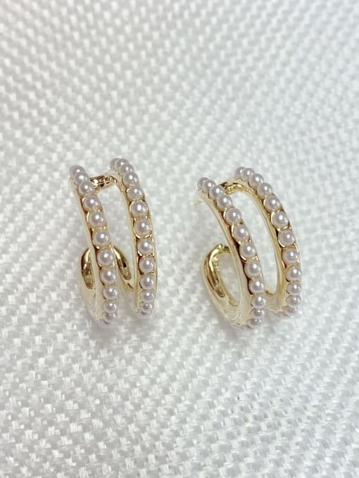 KEVIN Zinc Alloy Imitation Pearl Round Trend Stud Earring 1