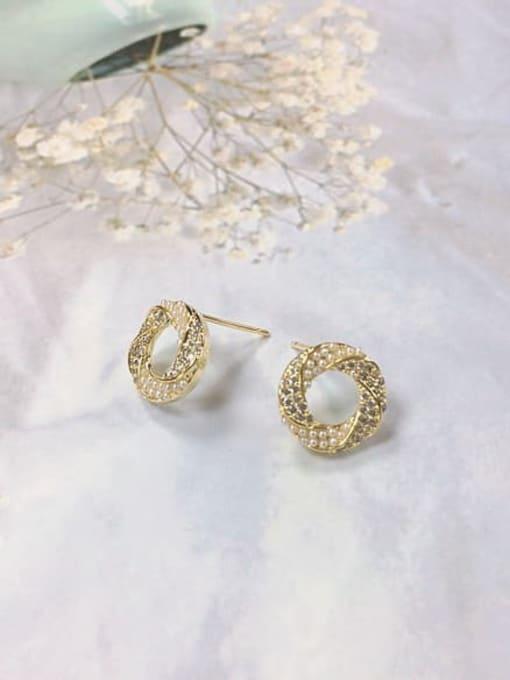 KEVIN Brass Cubic Zirconia Cone Dainty Stud Earring 0