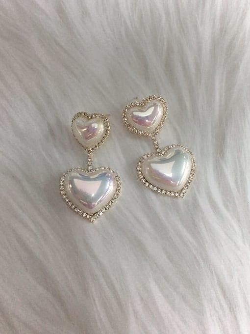 KEVIN Zinc Alloy Imitation Pearl Heart Trend Drop Earring 0