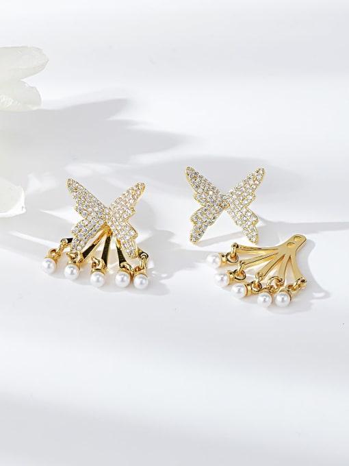 KEVIN Brass Cubic Zirconia Butterfly Dainty Drop Earring