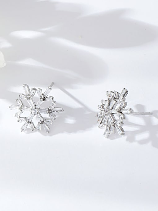 Silver Brass Cubic Zirconia Irregular Dainty Stud Earring