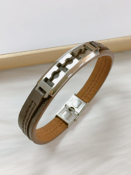 Silver Stainless steel Leather Irregular Trend Bracelet