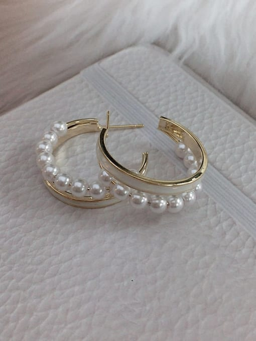 KEVIN Brass Imitation Pearl Round Trend Hoop Earring 1