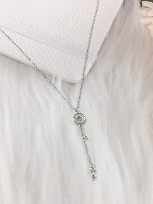 KEVIN 925 Sterling Silver Cubic Zirconia Key Dainty Initials Necklace 0