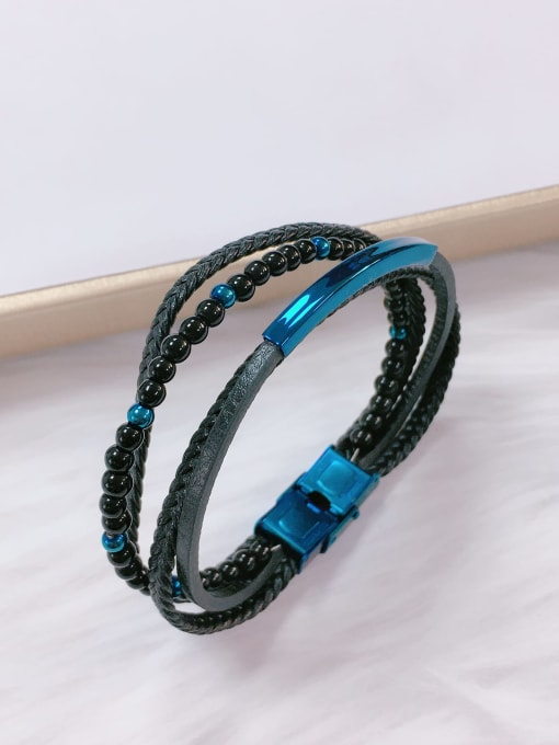 Blue Stainless steel Bead Leather Irregular Trend Bracelet