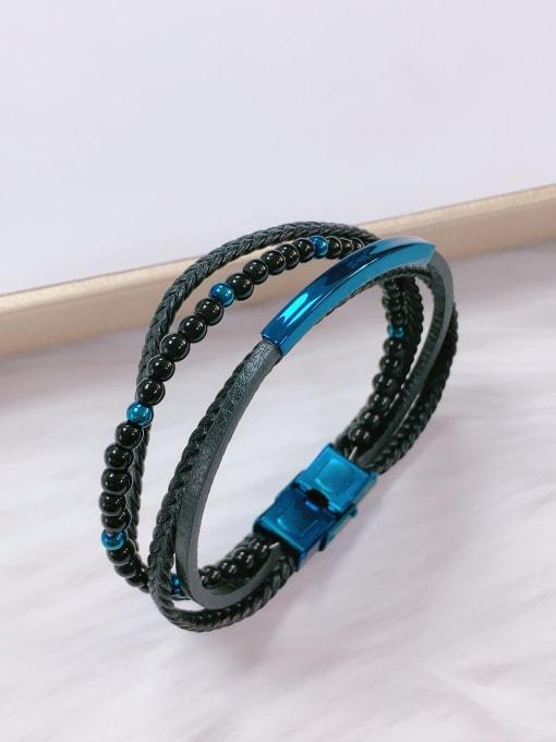 HE-IN Stainless steel Bead Leather Irregular Trend Bracelet 2