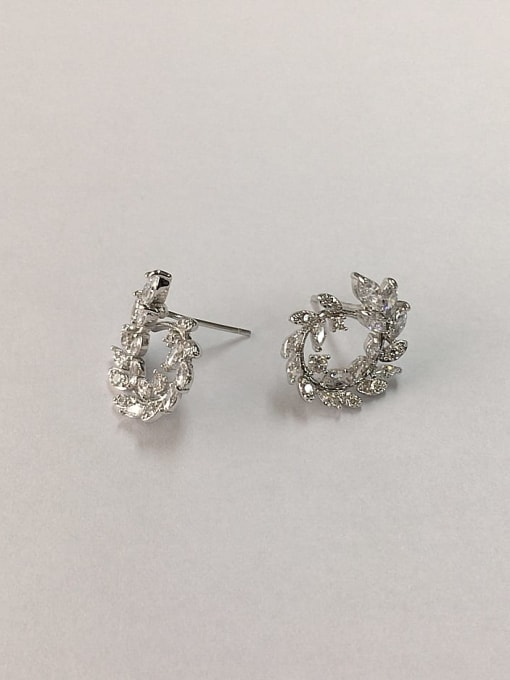 KEVIN Brass Cubic Zirconia Leaf Dainty Stud Earring 1