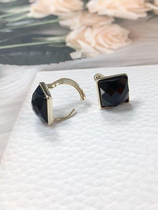 KEVIN Zinc Alloy Glass Stone Square Minimalist Huggie Earring 1
