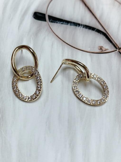 KEVIN Zinc Alloy Cubic Zirconia Oval Trend Drop Earring 1