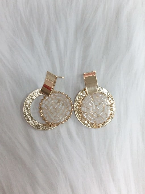 KEVIN Zinc Alloy Crystal Round Trend Drop Earring 1