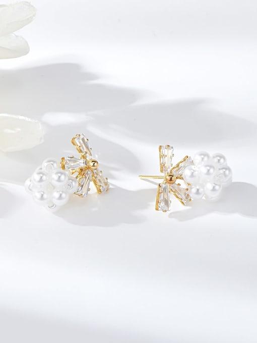 Gold Brass Cubic Zirconia Bowknot Dainty Drop Earring