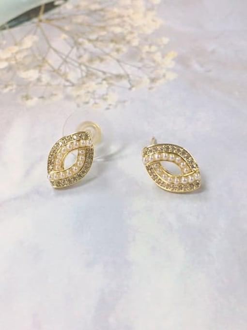 KEVIN Brass Cubic Zirconia Irregular Dainty Stud Earring 0