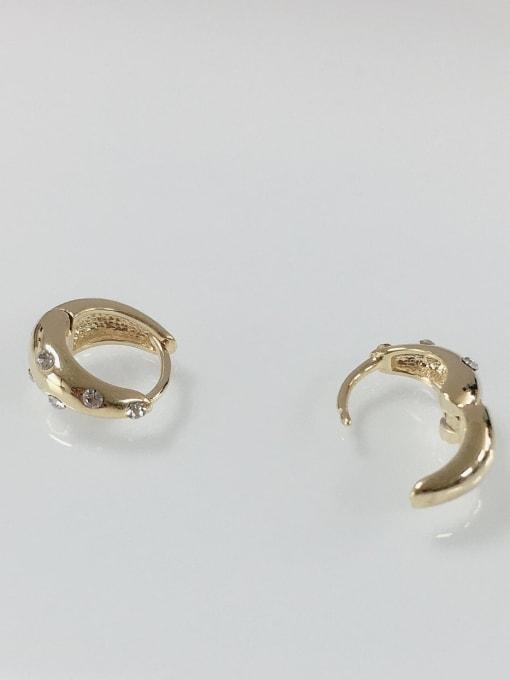 KEVIN Brass Rhinestone Irregular Dainty Huggie Earring 1