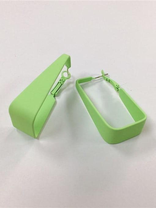 Green Zinc Alloy Enamel Irregular Trend Huggie Earring