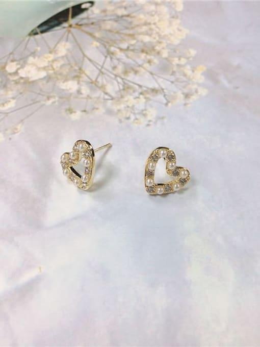 KEVIN Brass Cubic Zirconia Heart Dainty Stud Earring
