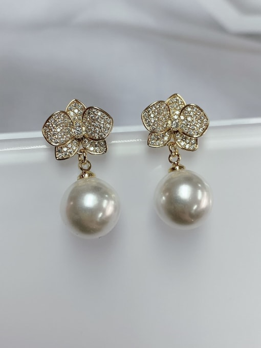 KEVIN Brass Imitation Pearl Flower Trend Drop Earring