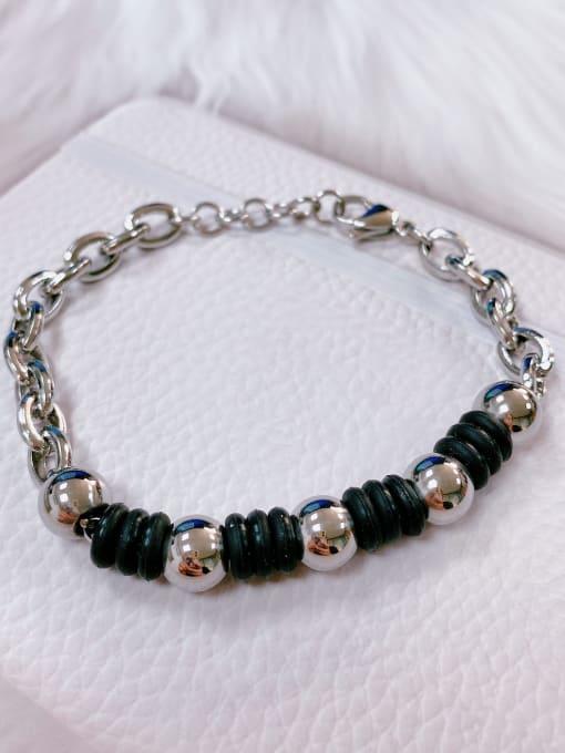 Black Stainless steel Silicone Irregular Trend Link Bracelet