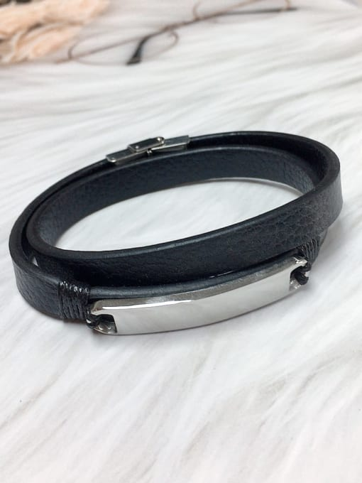 HE-IN Stainless steel Leather Irregular Trend Bracelet 0
