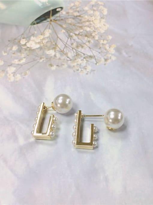 KEVIN Brass Imitation Pearl Irregular Trend Stud Earring