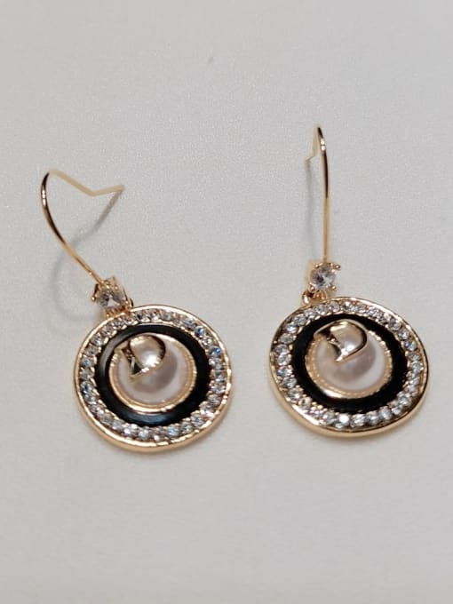 KEVIN Zinc Alloy Imitation Pearl Round Trend Hook Earring 0