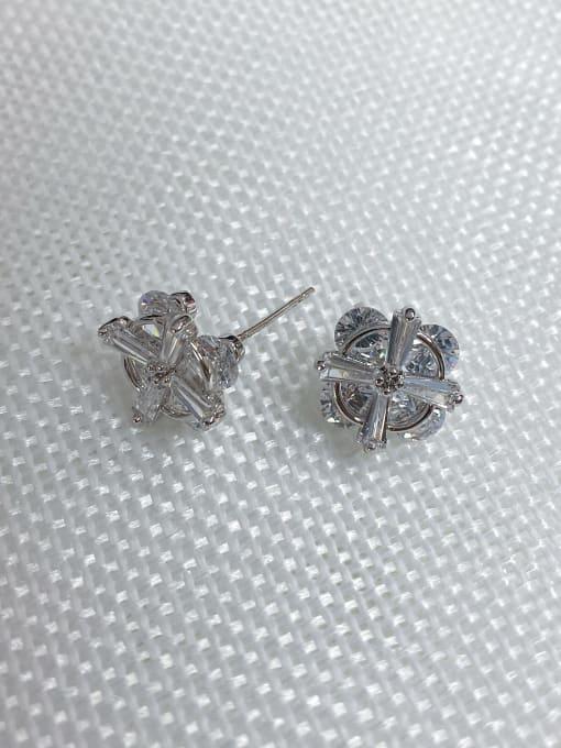 Silver Copper Alloy Cubic Zirconia Clover Dainty Stud Earring