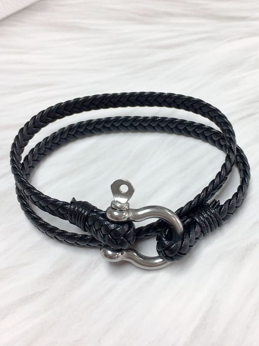 HE-IN Stainless steel Leather Irregular Trend Bracelet