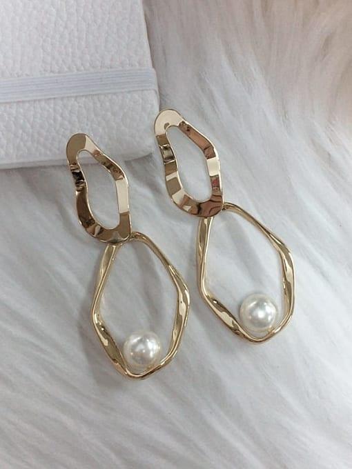 KEVIN Zinc Alloy Imitation Pearl Irregular Trend Drop Earring 0