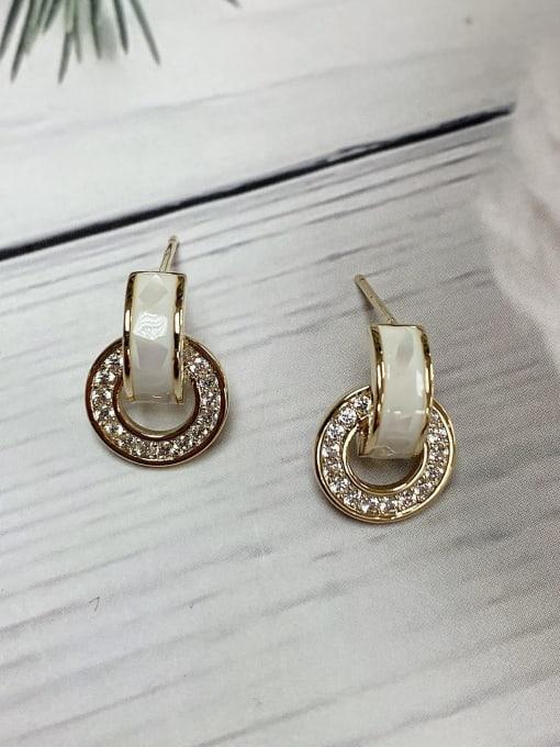 KEVIN Brass Cubic Zirconia White Stud Earring