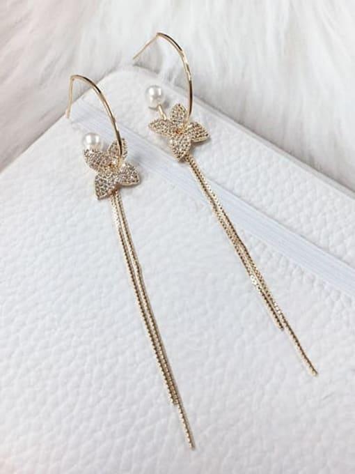 KEVIN Brass Cubic Zirconia Clover Trend Threader Earring 1