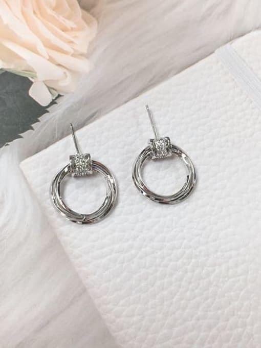 KEVIN Brass Cubic Zirconia Irregular Dainty Stud Earring