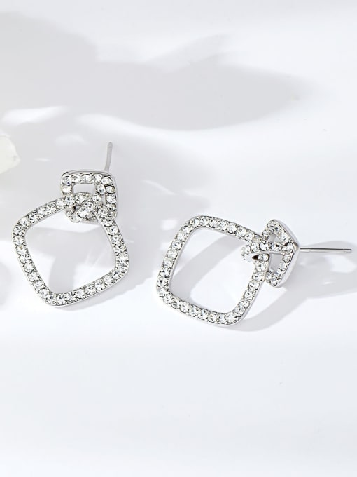 KEVIN Copper Alloy Rhinestone Square Trend Drop Earring 1