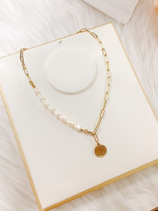 KEVIN Stainless steel Imitation Pearl Skull Trend Link Necklace 1