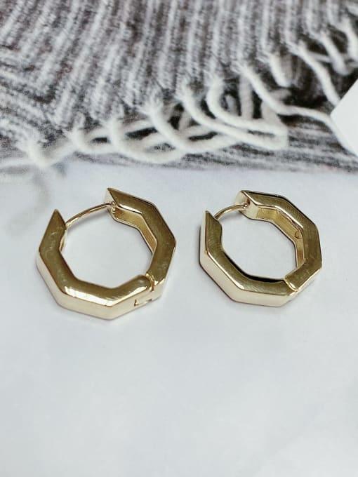 KEVIN Zinc Alloy Hexagon Classic Huggie Earring 1